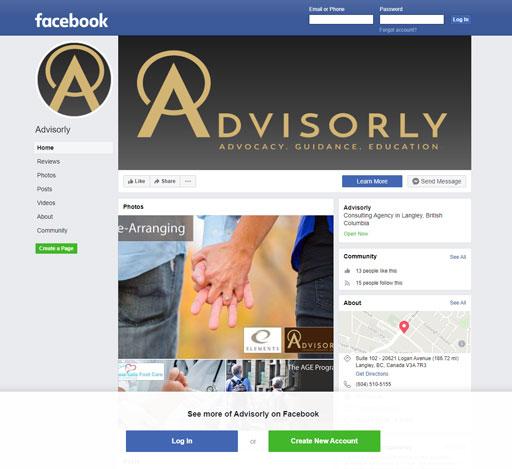 Advisorly Facebook page